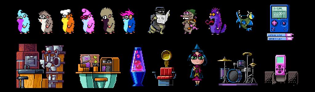 Corey Annis - Portfolio - Hamster Mansion - Pixel Art - Characters - Sprites